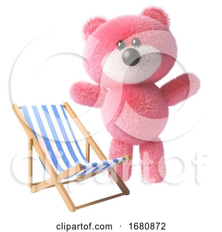 Pink Fluffy Cute 3d Teddy Bear Character Standing by a Deck Chair, 3d Illustration by Steve Young