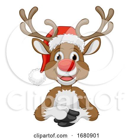 Christmas Reindeer in Santa Hat Cartoon by AtStockIllustration