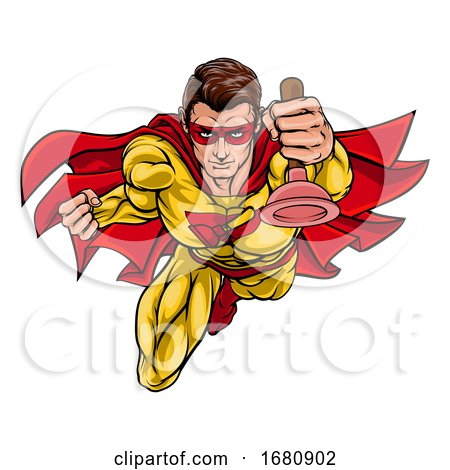 Super Plumber Handyman Superhero Holding Plunger by AtStockIllustration