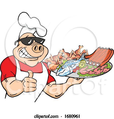 Happy Muscular Chef Pig Wearing a Hat and Sunglasses, Holding a Thumb up and a Plate of FoodHappy Muscular Chef Pig Wearing a Hat and Sunglasses, Holding a Thumb up and a Plate of Food by LaffToon
