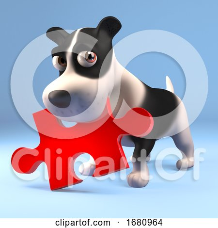 Funny 3d Cartoon Puppy Dog Holding a Piece of a Jigsaw Puzzle in His Mouth, 3d Illustration Posters, Art Prints