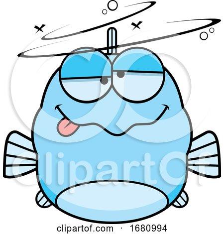 Cartoon Drunk Blue Fish by Cory Thoman