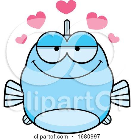 Cartoon Loving Blue Fish by Cory Thoman