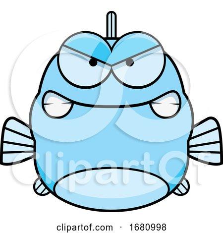 Cartoon Mad Blue Fish by Cory Thoman