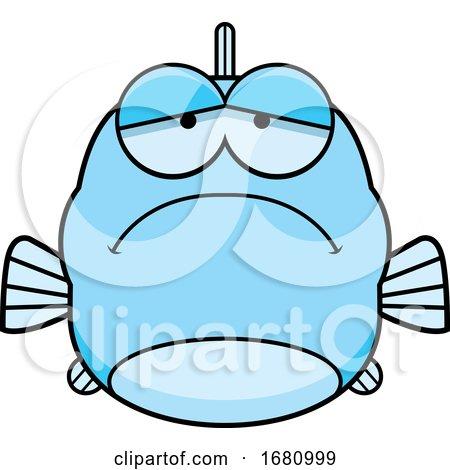 Cartoon Depressed Blue Fish by Cory Thoman