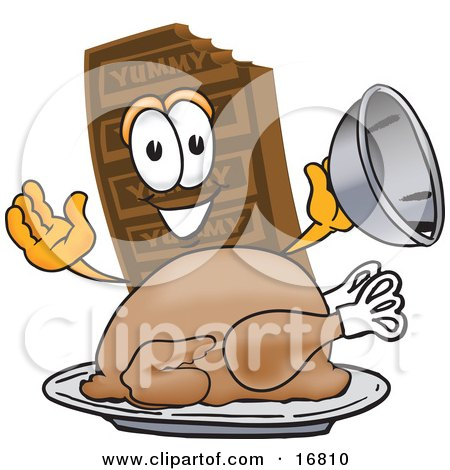 Clipart Picture of a Chocolate Candy Bar Mascot Cartoon Character Serving a Thanksgiving Turkey on a Platter by Toons4Biz