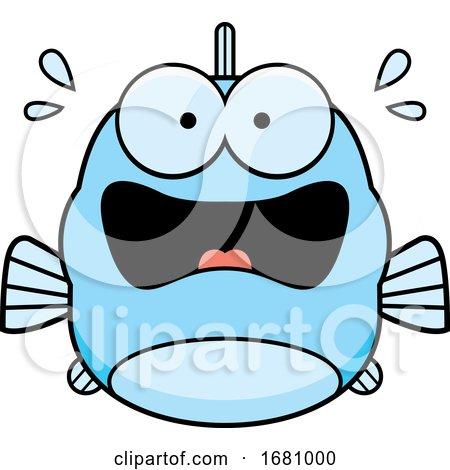 Cartoon Scared Blue Fish by Cory Thoman