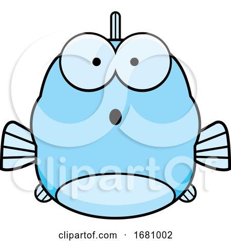 Cartoon Surprised Blue Fish by Cory Thoman