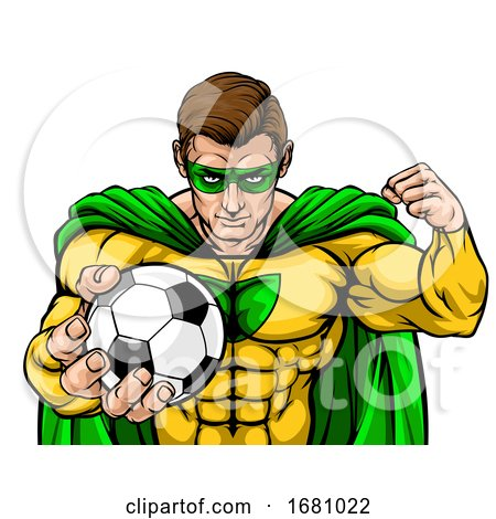 Superhero Holding Soccer Ball Sports Mascot by AtStockIllustration