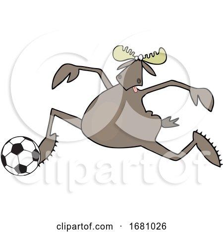 Cartoon Moose Playing Soccer by djart