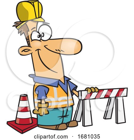 Cartoon Male Construction Worker by toonaday