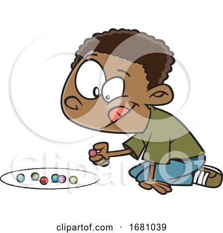 Cartoon Boy Playing with Marbles Posters, Art Prints