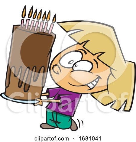 Cartoon Girl Carrying a Tall Birthday Cake by toonaday
