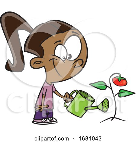 Cartoon Girl Watering a Tomato Plant by toonaday