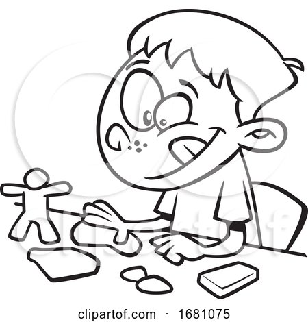 Cartoon Outline Boy Playing with Playdough by toonaday