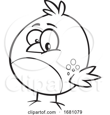 Cartoon Outline Bird by toonaday
