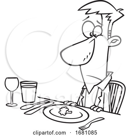 Cartoon Outline Unhappy Man at a Diner by toonaday