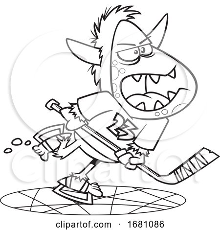 Cartoon Lineart Yeti Playing Hockey Posters, Art Prints