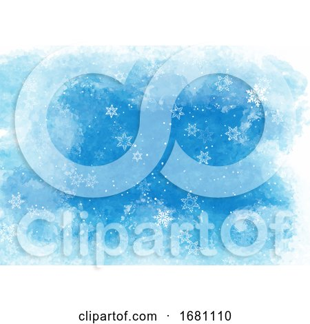 Christmas Snowflakes on Watercolour Texture Background 0409 by KJ Pargeter