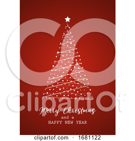 Christmas Card with Tree Design by KJ Pargeter