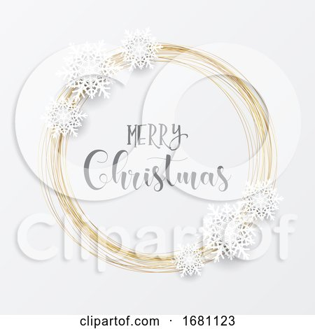 Elegant Christmas Background with Gold Circular Frame and Snowflakes by KJ Pargeter