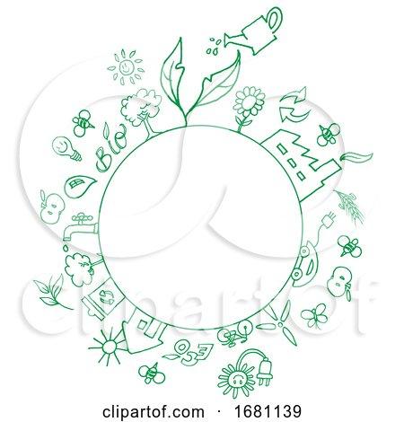 Sketched Circle Frame with Eco Symbols by Domenico Condello