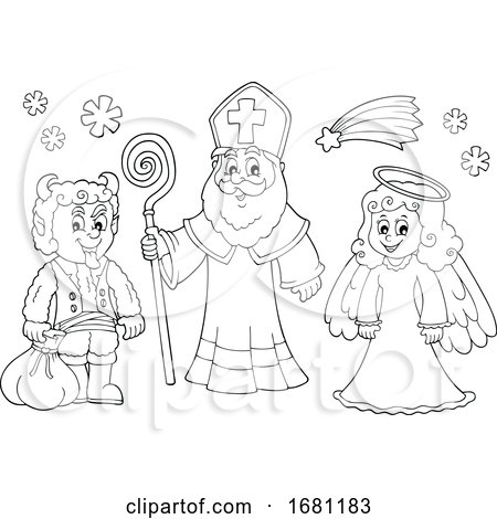Saint Nicholas Angel and Krampus by visekart