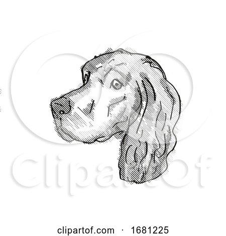 Gordon Setter Dog Breed Cartoon Retro Drawing by patrimonio