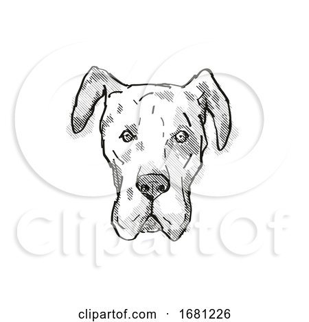 Great Dane Dog Breed Cartoon Retro Drawing by patrimonio
