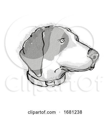 Bluetick Coonhound Dog Breed Cartoon Retro Drawing by patrimonio