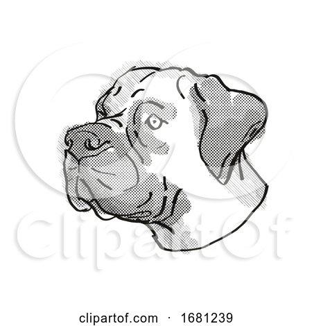 Boerboel Dog Breed Cartoon Retro Drawing by patrimonio