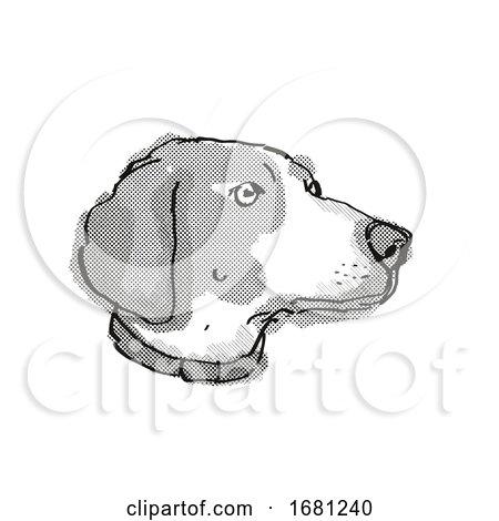 Boglen Terrier Dog Breed Cartoon Retro Drawing by patrimonio