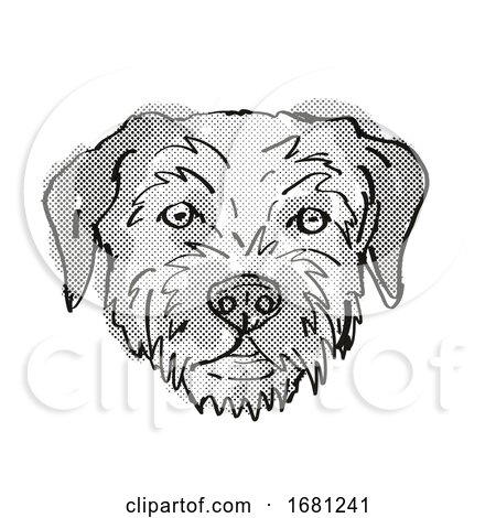 Border Terrier Dog Breed Cartoon Retro Drawing by patrimonio