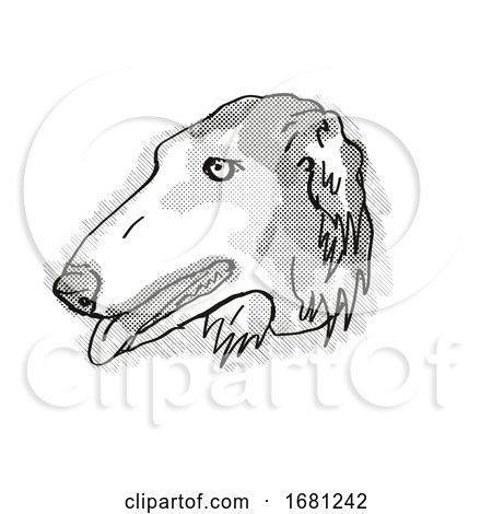 Borzoi Dog Breed Cartoon Retro Drawing by patrimonio