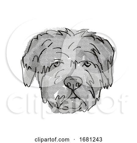 Bouvier Des Flandres Dog Breed Cartoon Retro Drawing by patrimonio