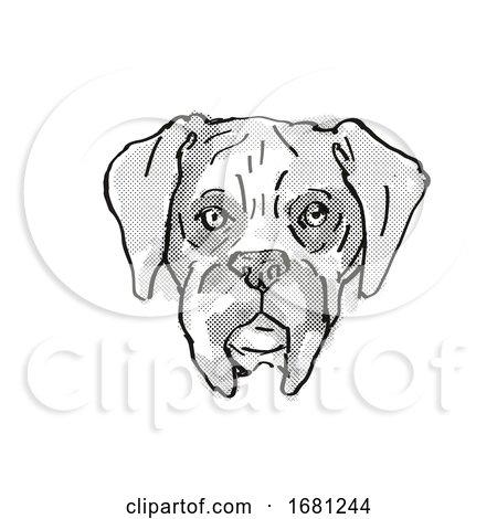 Boxer Dog Breed Cartoon Retro Drawing by patrimonio