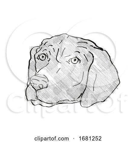 German Shorthaired Pointer Dog Breed Cartoon Retro Drawing by patrimonio