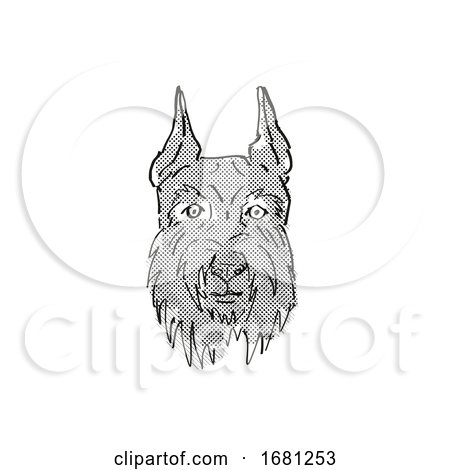 Giant Schnauzer Dog Breed Cartoon Retro Drawing by patrimonio
