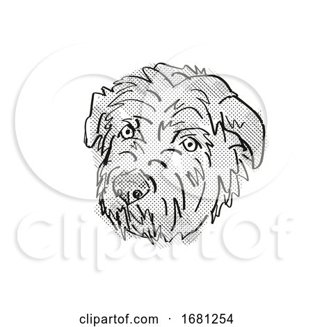 Glen of Imaal Terrier Dog Breed Cartoon Retro Drawing by patrimonio
