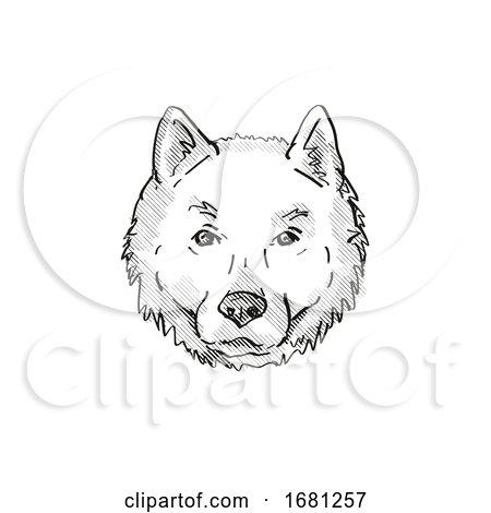 Hokkaido Dog Breed Cartoon Retro Drawing by patrimonio
