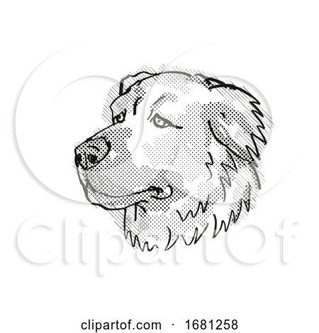 Caucasian Shepherd Dog Dog Breed Cartoon Retro Drawing by patrimonio