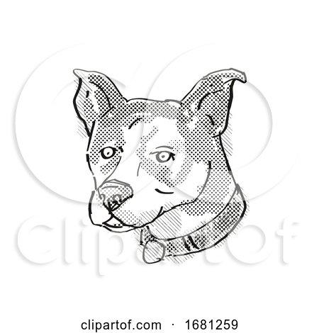 Canaan Dog Breed Cartoon Retro Drawing by patrimonio
