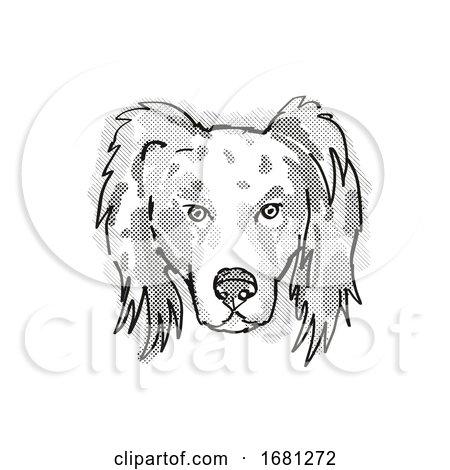 Australian Shepherd Dog Breed Cartoon Retro Drawing by patrimonio