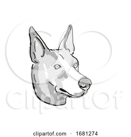 Basenji Dog Breed Cartoon Retro Drawing by patrimonio