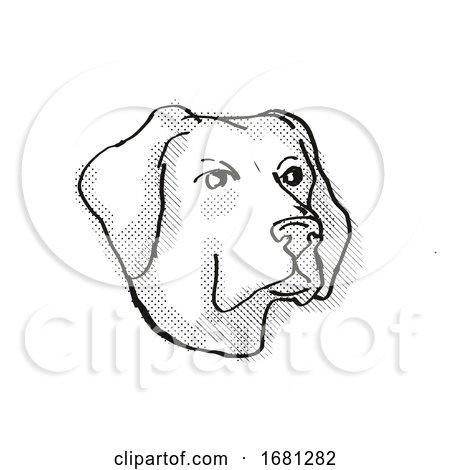 Labrador Retriever Dog Breed Cartoon Retro Drawing by patrimonio
