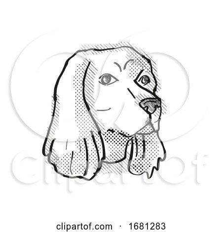 Cocker Spaniel Dog Breed Cartoon Retro Drawing by patrimonio