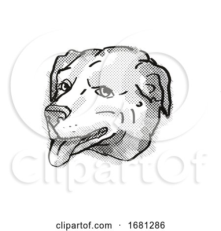 American Pugabull Dog Breed Cartoon Retro Drawing by patrimonio