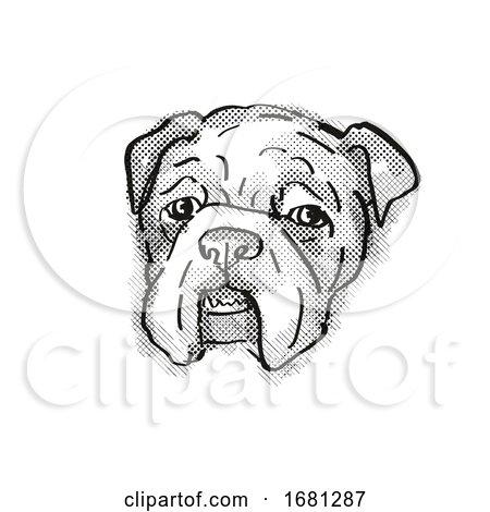 Bulldog Dog Breed Cartoon Retro Drawing by patrimonio