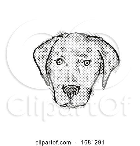 American Leopard Hound Dog Breed Cartoon Retro Drawing by patrimonio