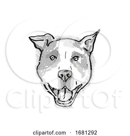 American Pit Bull Terrier Dog Breed Cartoon Retro Drawing by patrimonio